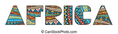 Africa Title - Africa word title with abstract ethnic...