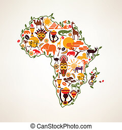Africa travel map, decrative symbol of Africa continent with ethnic vector icons