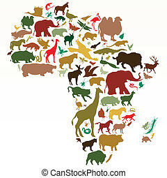 Africa - map of Africa with animals