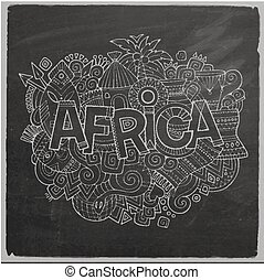 Africa Vector hand lettering and doodles elements