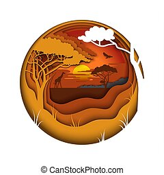 Africa, vector illustration in paper art style