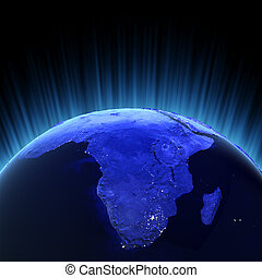 Africa volume 3d render. Maps from NASA imagery
