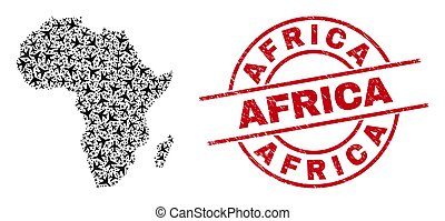 Africa Watermark Badge and Africa Map Jet Vehicle Collage