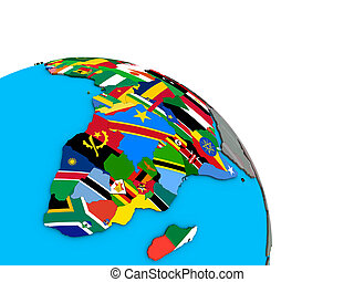 Africa with flags on 3D globe