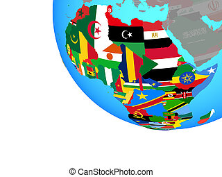 Africa with flags on globe
