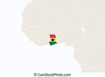 Africa with highlighted Ghana map.