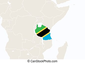 Africa with highlighted Tanzania map.