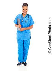 africain femelle, monde médical, infirmière