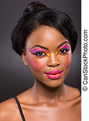africaine, à, coloré, maquillage