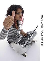 africaine, à, ordinateur portable