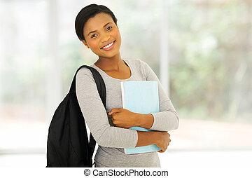 africaine, étudiant université, tenir livre