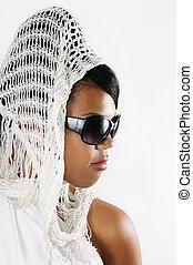 africaine, beauté, lunettes soleil port