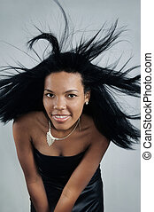 africaine, cheveux, beauté