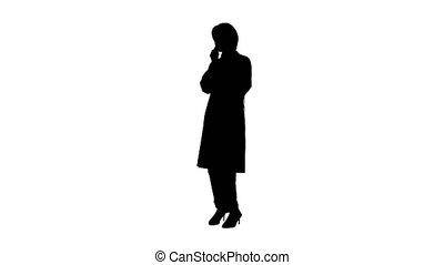 africaine, conversation, téléphone, femme, canal, américain, docteur, alpha