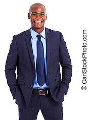 africaine, demie longueur, homme affaires, portrait, beau