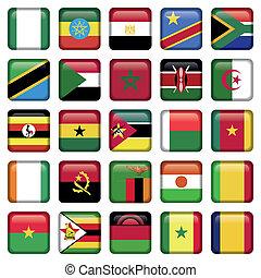 africaine, drapeaux, carrée, icônes