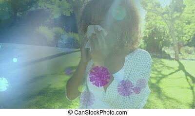 africaine, elle, femme américaine, souffler, cellules, ...