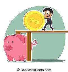 africaine, femme affaires, pousser, porcin, grand, banque pièce monnaie