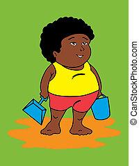 africaine, graisse, gosse