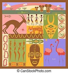 africaine, illustration, ethnique
