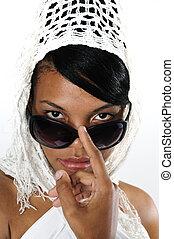 africaine, lunettes soleil, beauté