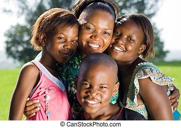 africaine, mère enfants