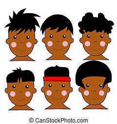 africaine, mignon, gosses, illustration, 6