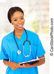africaine, monde médical, infirmière