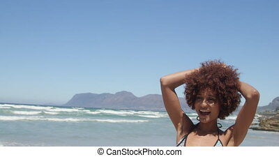 africaine, numérique, images, américain, homme appareil-photo, 4k, femme, prendre, jeune, plage