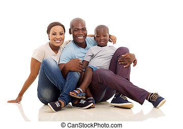africaine, plancher, famille, séance