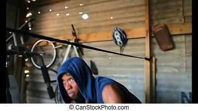 africaine, pratiquer, mâle, boxe, américain, boxeur, 4k,...