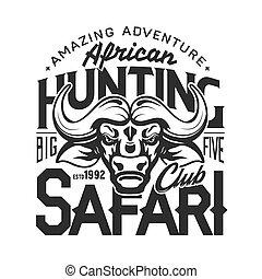 africaine, safari, surprenant, aventure, chasse, buffle