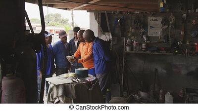 africaine, travail, hommes, parler