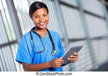 africaine, utilisation ordinateur, tablette, docteur