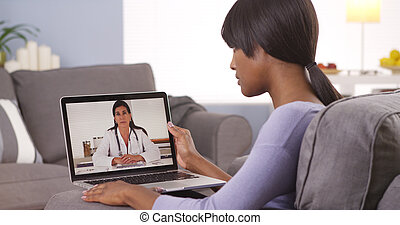 africaine, vidéo, bavarder, docteur