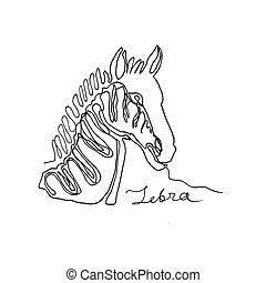 africaine, zebra., continu, portrait, flyer., minimalisme, vecteur, ligne, animal., conception, une, logo, style., texte, ton, illustration, carte, bannière, drawing., affiche, encre