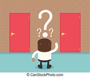 african, 商人, 選擇, the, 門, 紅色, 卡通, 概念, 摘要, 事務