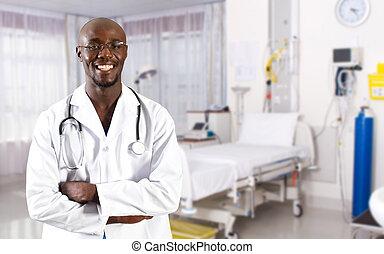 african, 醫生, 在, 醫院沃德