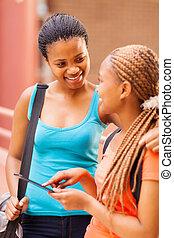 african, 대학생, 을 사용하여, 정제, 컴퓨터