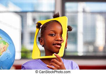 african, 여학생, 농담하는 것, 물건, 에서, 원색, 교실