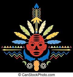 african, 추상 예술, 종족의, 개념