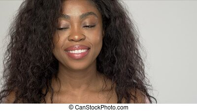 african, 카메라, 미국 사람 여자, 미소, 아름다운