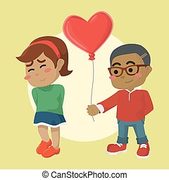 african A boy giving heart shaped balloon to girl
