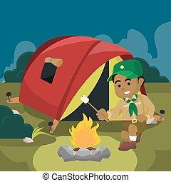 african A boy scout campfire