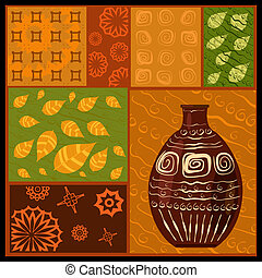 African abstract pattern with a vase