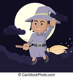 African African witch flying with her broom
