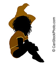 African ameircan female halloween infant toddler silhouette...