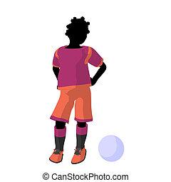 African ameircan female tween soccer player art illustration...