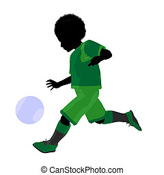 African ameircan male tween soccer player art illustration...