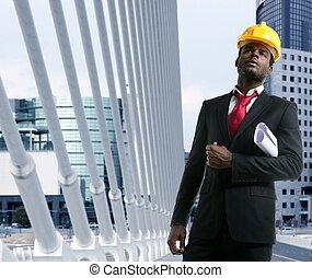 african american, építészmérnök, konstruál, sárga, hardhat